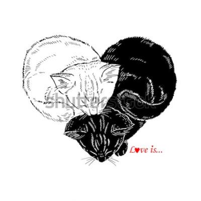 Adesivo Mão desenhada ilustração de gatinhos preto e branco dormindo em forma de coração, Valentin Day design, amor