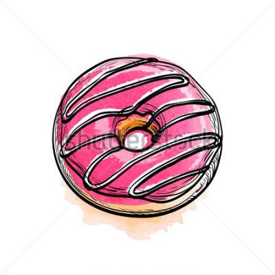 Adesivo Mão desenhada ilustração vetorial de donut.