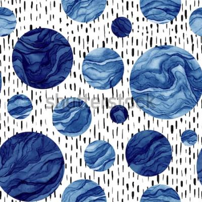Adesivo Mão desenhada sem costura padrão de aquarela círculos azuis profundos. Textura de mármore