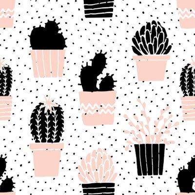 Adesivo Mão, desenhado, cacto, padrão