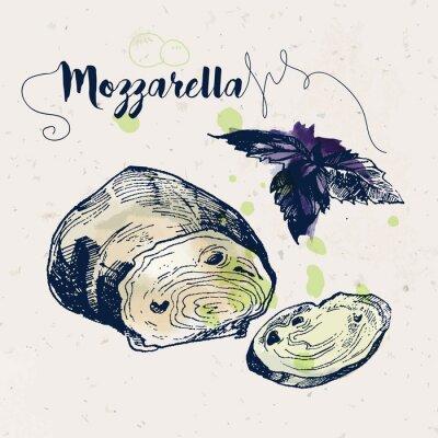 Adesivo Mão, desenhado, mozzarella, queijo, manjericão, folhas
