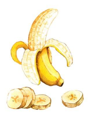 Adesivo Mão, desenhado, watercolour, Ilustração, banana