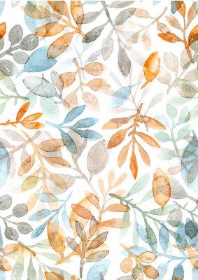Adesivo mão em aquarela pintada de folhas e ramos. padrão sem emenda sobre um fundo branco