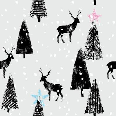 Adesivo mão floresta do inverno desenhada teste padrão na moda