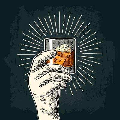 Adesivo Mão masculina, segurando, vidro, whisky, raio