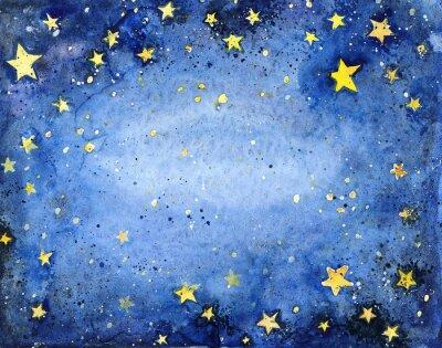 Adesivo Mão, pintado, aguarela, azul, céu, luminoso, estrelas