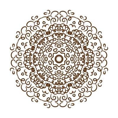Adesivo Mão tirada mandala do tatuagem do henna. Ornamento do laço do vetor.