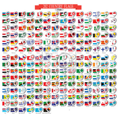 Adesivo Map marker with flags. Vector illustration 10eps.