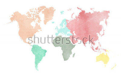 Adesivo Map of the continental world in watercolor in six different colors