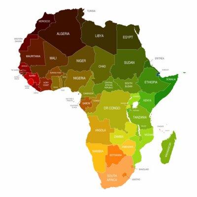 Adesivo Mapa africano coloridos Países Shapes