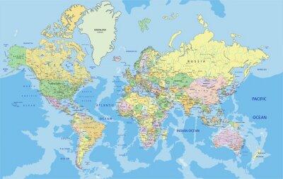 Adesivo Mapa altamente detalhado do mundo político com rotulagem.