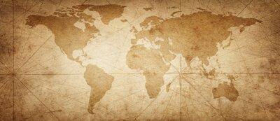 Adesivo Mapa antigo do mundo em um fundo de pergaminho antigo. Estilo vintage. Elementos desta imagem fornecidos pela NASA.