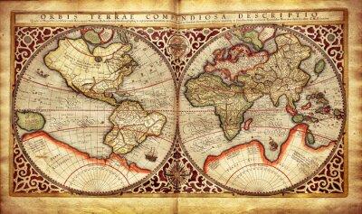 Adesivo Mapa antigo do mundo, impresso em 1587