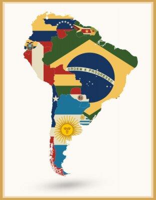 Adesivo Mapa Da América Do Sul Com Bandeiras E Cores Do Vintage
