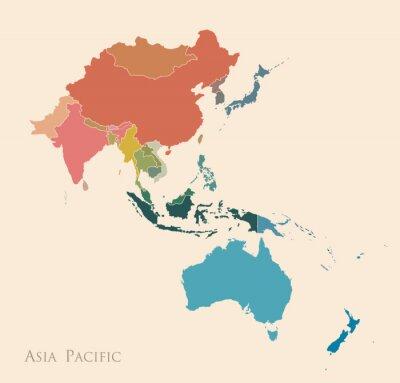 Adesivo Mapa da Ásia-Pacífico