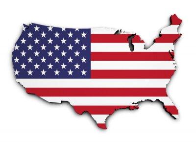 Adesivo Mapa da bandeira dos EUA 3D Forma
