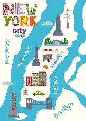 Adesivo Mapa da cidade de Manhattan of New York City