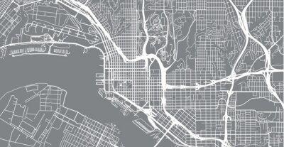 Adesivo Mapa da cidade urbana de vetor de San Diego, Califórnia, Estados Unidos da América
