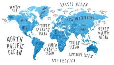 Adesivo Mapa da Terra com o nome dos países