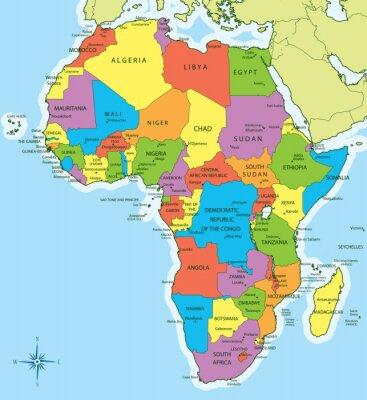 Adesivo Mapa de África com os países e cidades