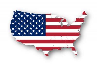 Adesivo Mapa de alta resolução dos EUA com bandeira americana. Você pode facilmente remover as sombras, ou para preencher o mapa em uma cor diferente - trajeto de grampeamento incluído.