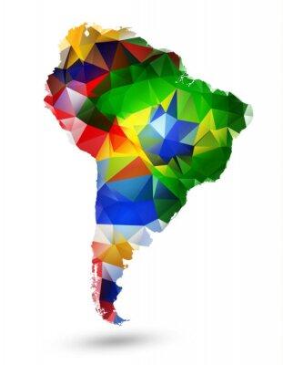 Adesivo MAPA DE DESIGN GEOMÉTRICO DA AMÉRICA DO SUL