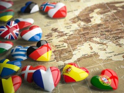 Adesivo Mapa de Europa e de corações com as bandeiras de países europeus. Trave