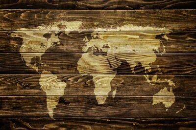 Adesivo Mapa de mundo no fundo de madeira