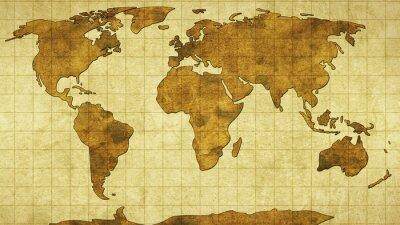 Adesivo Mapa de mundo no papel velho