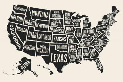 Adesivo Mapa do cartaz dos Estados Unidos da América com nomes do estado. Mapa preto e branco da cópia de EUA para o t-shirt, o poster ou os temas geográficos. Mapa preto desenhado mão com estados. Ilustração