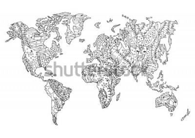 Adesivo mapa do mundo animal selvagem vida selvagem flor desenho floral vector ilustração mão desenhada