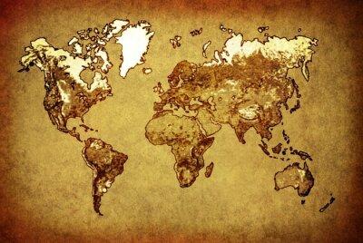 Adesivo mapa do mundo antigo no papel velho