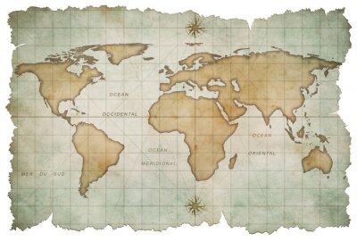 Adesivo mapa do mundo com idade isolado no branco