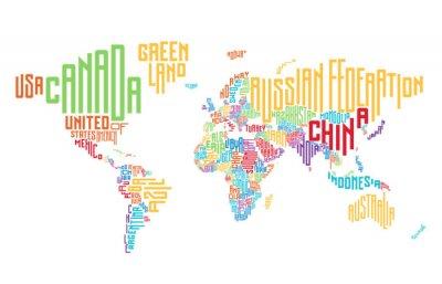 Adesivo Mapa do mundo composto por nomes de países tipográficos