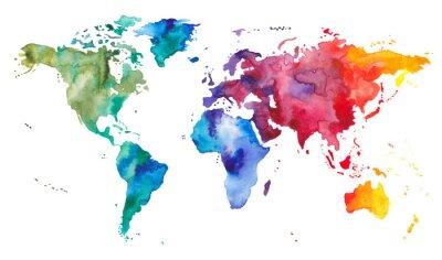 Adesivo Mapa do mundo da aguarela