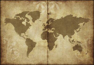 Adesivo mapa do mundo de papel velho pergaminho