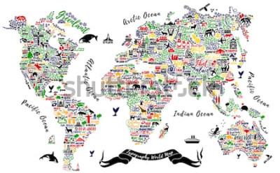Adesivo Mapa do mundo de tipografia. Poster de viagens com cidades e atrações turísticas. Ilustração vetorial inspiradora.