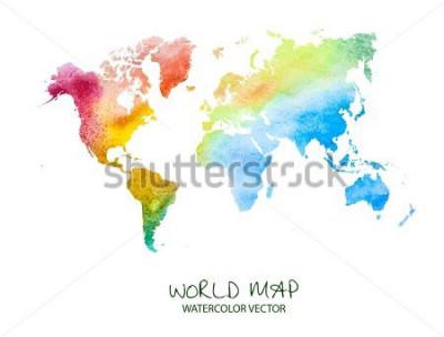 Adesivo mapa do mundo desenhado mão aquarela isolado no branco. Versão do vetor