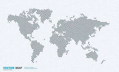 Adesivo Mapa do mundo do vetor com círculos, pontos, pontos para moldes do negócio