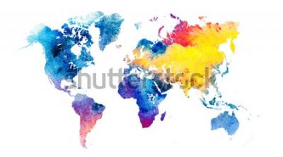 Adesivo Mapa do mundo em aquarela colorido.