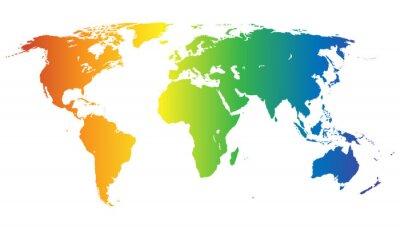 Adesivo Mapa do mundo em cores do arco-íris - vector