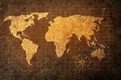 Adesivo Mapa do mundo no fundo do grunge