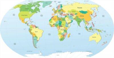 Adesivo mapa do mundo político na cor