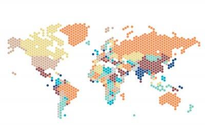 Adesivo Mapa do mundo pontilhado de pontos sextavados
