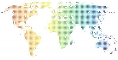 Adesivo Mapa do Mundo - pontilhado em cores do arco-íris