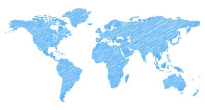 Adesivo Mapa do Mundo Scribble