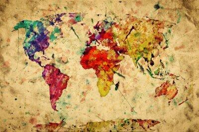 Adesivo Mapa do mundo vintage. Pintura colorida, aguarela sobre papel grunge