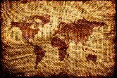 Adesivo Mapa do Velho Mundo em hesian textura saco