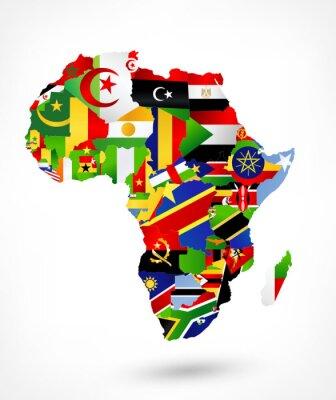 Adesivo Mapa do vetor de África com bandeiras e localização no mapa do mundo