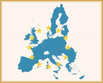 Adesivo Mapa do vintage da União Europeia com bandeira da EU